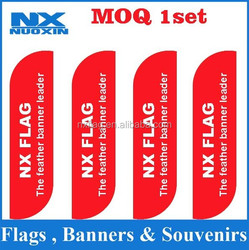 kniting polyester swooper flag feather beach flag banner white red