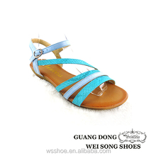 China supplier simple vamp design small wedge heel elastic ankle strap sandals
