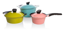 Korean style Die Cast Aluminum Cookware Set,with ceramic coating,colorful lid,RS--541