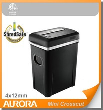 Aurora AS1080CM Plastic Paper Shredder, 10 sheet (A4) Mini crosscut 4 x12mm.Medium Duty Shred Office equipment for Office & SOHO