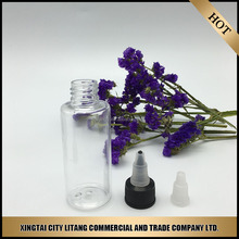 china suppliers that accept paypal clear pet plastic 60ml ejuice bottles needle tip/twice cap