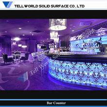 Custom modern fancy commercial led lighted wine bar counter design