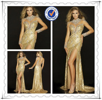 2015 Luxury Long Sleeve Gold Sexy Crystal Beaded Evening Dress