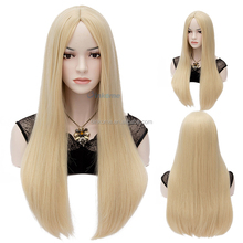 Synthetic Wigs Silky Straight Blonde Full Lace Wigs for Girl Party with Free Cap 60cm Cosplay Wigs Middle Part