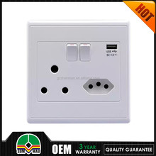 2015 South africa and Brazil wall socket usb wall outlet 86*86 wall socket eu brushed steel with switch