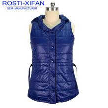 Spring clothing women's padding waterproof vest dress with hood &belt