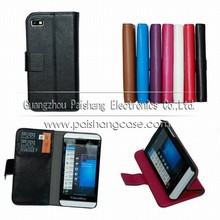 Wallet flip leather case for Blackberry Z10