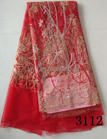 Red heavy Stones Beaded Net French Lace Fabric for wedding dress lace