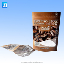 Coffee bag with coffee design/Aluminum foil coffee packaging bag with valve/Stand up aluminum foil coffee bag with ziplock