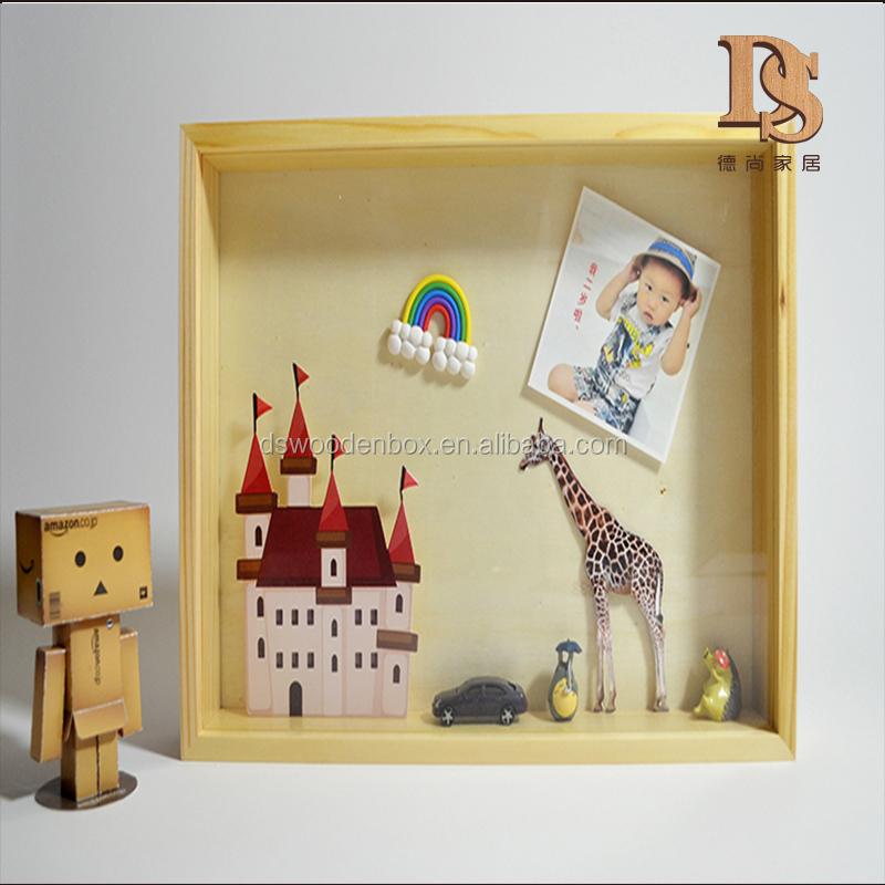 Natural A4 marco caja de madera colgante de pared decorativo de ...