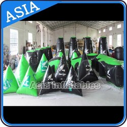 Custom made Inflatable green and black paintball bunkers filed for sale