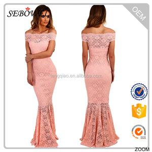 Леди мода дизайн партия носить тип рыбий хвост с плеча розовый кружевном платье