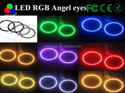 Hot! full size circle RGB 5050 smd led angel eye angel 2pcs 100mm for car motorcycle projector len with remote controller