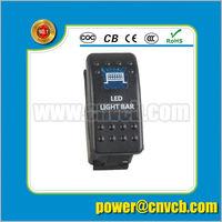 waterproof NEW 12V/ 24V 5 way WHITE LED Aluminum Rocker Switch Panel Circuit Breaker with voltmeter IP68 led light bar 600w
