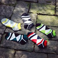 Lanle ankle men socks, diamond pattern men socks,confortable cotton men socks knitted