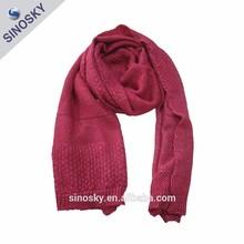 100% acrílico de moda nuevo diseño de la mano bufanda de punto / punto bufanda / la bufanda que hace punto