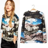 14807 Top Sale 2014 Women Hoody Autumn Winter Fashion Long Sleeve O-Neck Scenery Printed Hoodies