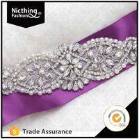 Bridal accessories bailange purple bridal dress fashion wholesale pearl rhinestone bridal sashes belt for derss WRA120