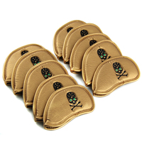 Gold 10x Golf Iron Head Covers Set Headcovers Wedge Leather Club Covers Custom Made