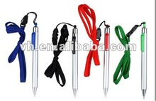 hot sale 2012 spring design plastic lanyard pen with rope