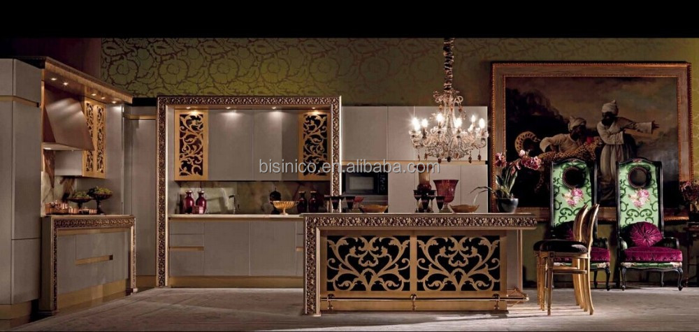 Cabinet, Victorian Style Kitchen Furniture Set, Design Gold Painting