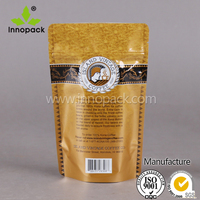 custom printed ziplock stand up plastic coffee bag with valve