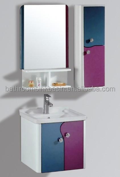Pvc armário de banheiro com bacia de vidroparede montado pvc armário de ban # Armario De Banheiro De Parede Com Espelho