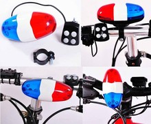 DIHAO 6 x LED Bicycle Safety Light with 4-Tone Electric Horn (2 x AA),bike electronic horn,,electronic bicycle horn bell.
