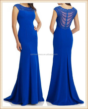 2015 hot sale long high neck unique design beaded top elegant mermaid fishtail jersey fabric royal blue evening dress