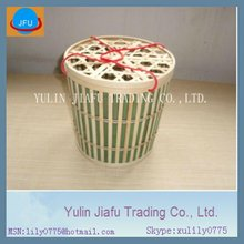 Hot sale with two red string round top cross bamboo basket