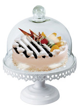 French white metal cake plate with glass cover