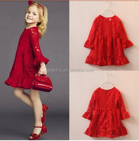 Beauty fashion Spain design kid clothes beautiful girl lace dress for autumn baby princess dress top quality