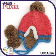Gorro de invierno con pom y earflap para mujeres/ gorros tejidos de moda