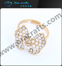Fashion Jewelry Rose Gold Plated butterfly engagement ring Knot Shaped diamond Pearl ring