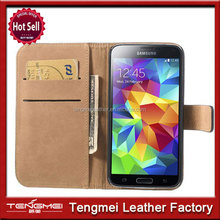 For Samsung Galaxy S5 Genuine Leather Wallet Flip Case Cover Black Business/Bank Card Holder