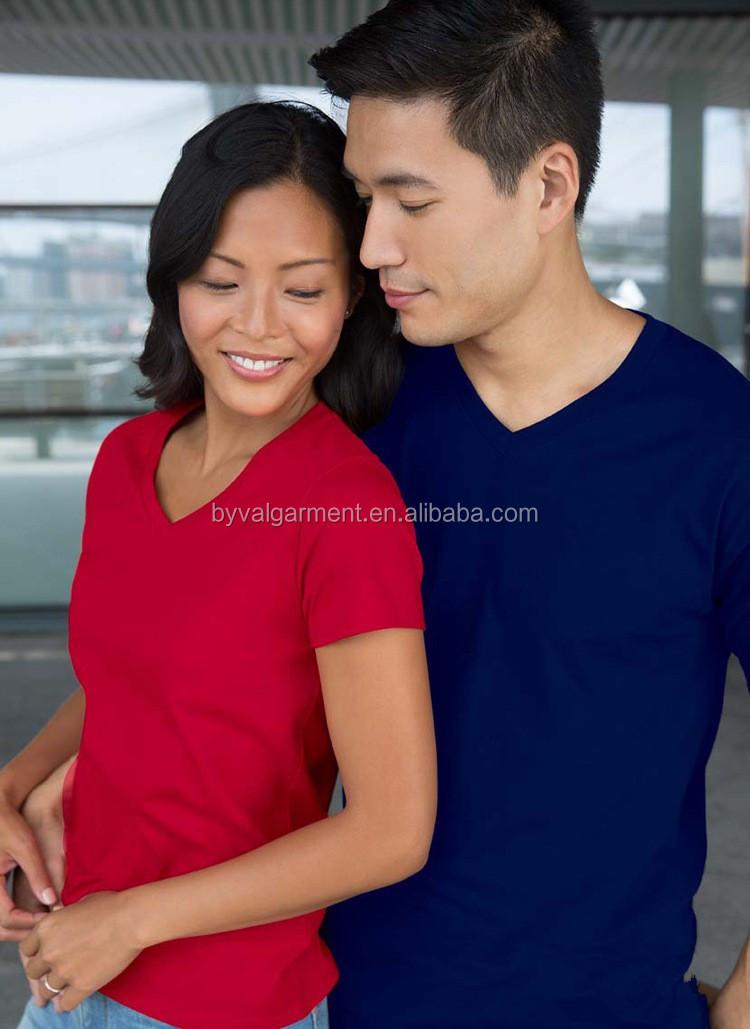 90 cotton 10 polyester v-neck short sleeve tshirts for women (10).jpg