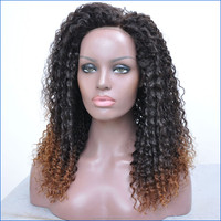 Ombre Brazilian Lace Front Kinky Wigs Afro Curly , human hair Lace Wigs For Black Women With Baby Hair