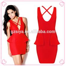 Moda rojo Short Tight Sexy vestidos vestido de terciopelo