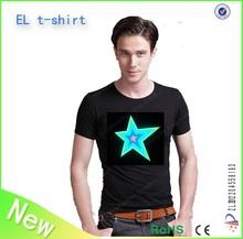 HOT Selling!!! EL flashing programable men el t shirt with el panel / custom el flashing / led lighting t shirt wholesale