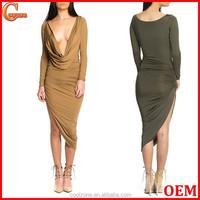 Latest new fashion ladies dress design wholesale deep V neck fashion dresses