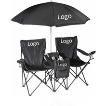 Fashionable Folding Double Seat Camping Chair With Umbrella/Double Cooler Beach Chair With Umbrella