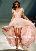 Wholesale - 2012 New Sexy Evening Dresses Mini Miranda Kerr hi-low Pink Chiffon V Neck Cap Sleeves Celebrity Dresses
