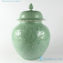 RYNT12 h13.4 inch Hand carved waterlily Celadon Ceramic Jars