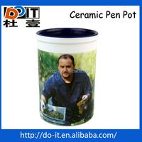 Office Ceramic pencil pen holder,inner color pot