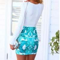 Long sleeve with mini length V neckline women short mini printing model dress party
