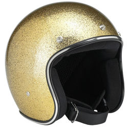 High Quality Motorcycle Open Face Disco Gold Dot Helmet