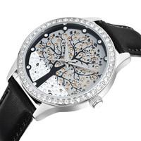 SKONE women leather watch japan movement diamond watches