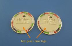 Metal Iron Lapel Pin UAE National Flag & Sheikhs Logo Soft Enamel Round Badge Magnetic Coin Pin