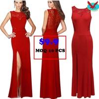 Wholesale Promotion price $9.9 women chiffon lace red long evening dress
