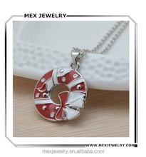 In stock! Alloy metal Christmas bowknot mistletoe flower circle decoration pendant necklace